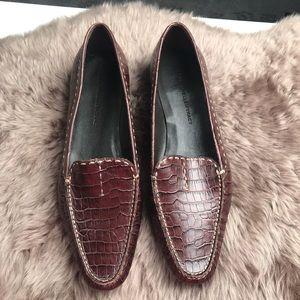 Ellen Tracy brown croc loafers sz 9 EUC